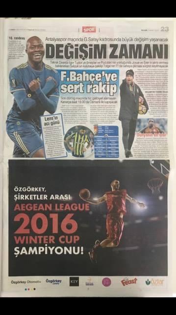2016 WINTER CUP ŞAMPİYONU ÖZGÖRKEY BASIN HABERLERİ / 1